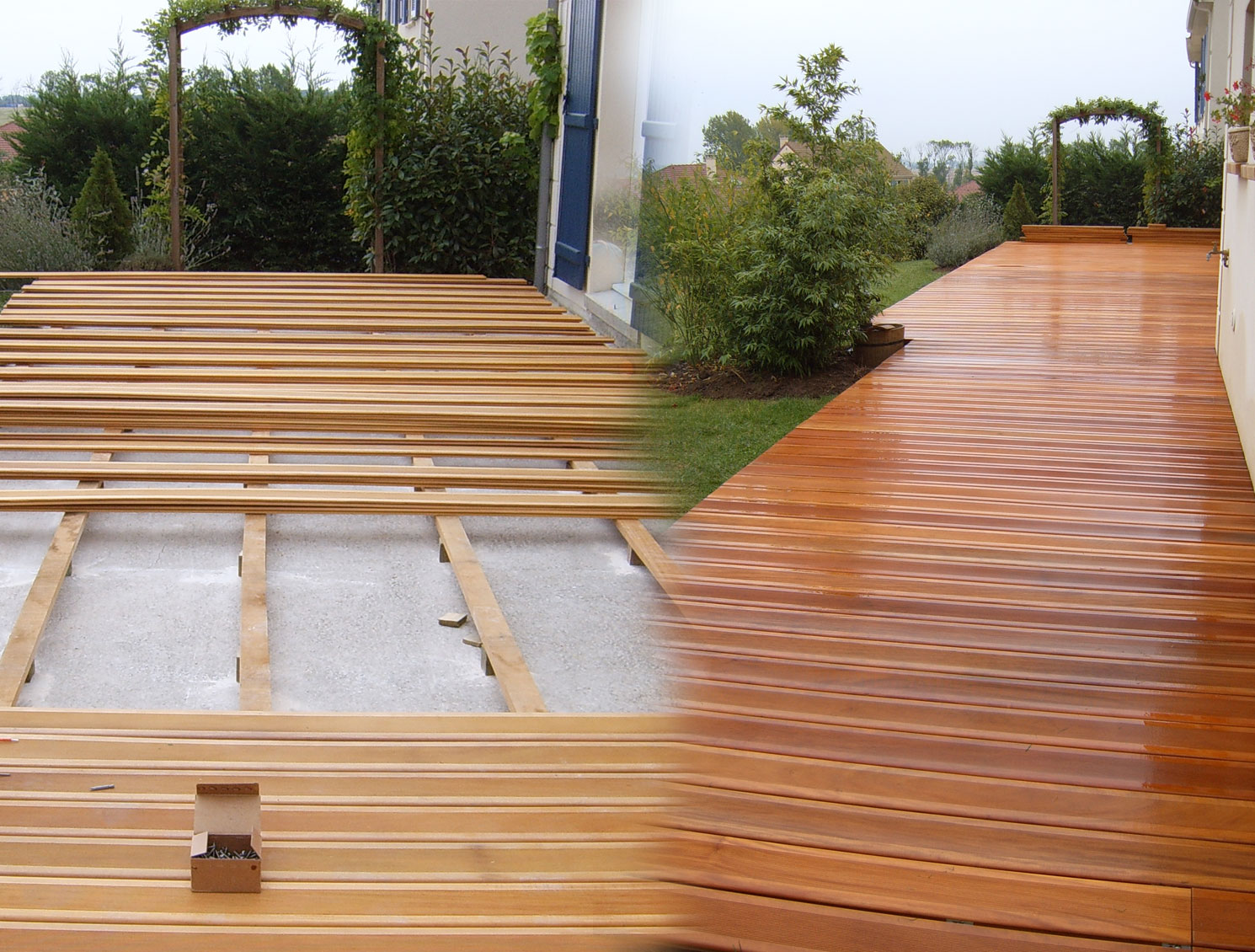 Cheminements et terrasses brin de nature for Pose de terrasse en bois