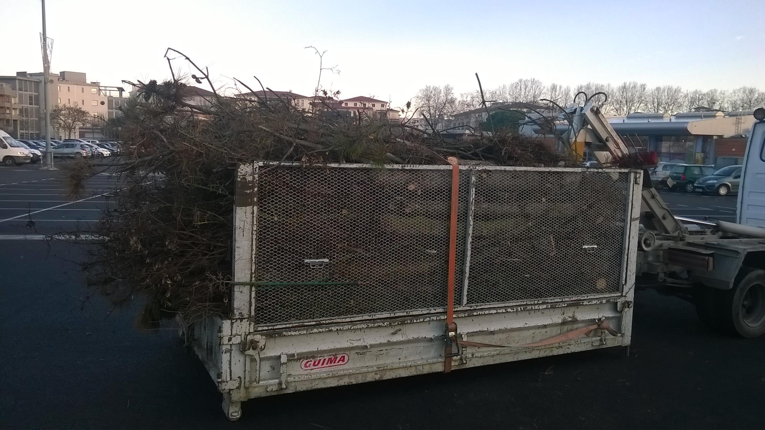 Plantation d'arbres à Colomiers : Chargement des déchets verts dans notre camion polybenne