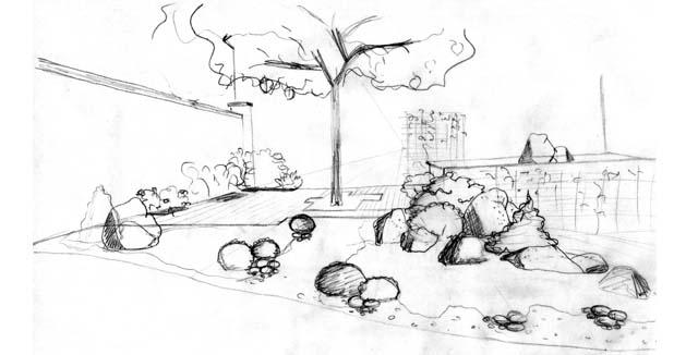 Conception d'une perspective d'une terrasse jardin